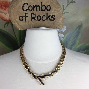 Trifari Gold Toned Leaf Enamel Rhinestone Necklace